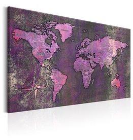 Schilderij Wereldkaart Paars