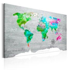 Schilderij Wereldkaart Groen Grijs