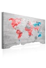 Schilderij Wereldkaart Rood Grijs
