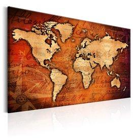 Schilderij Wereldkaart Bruin Beige