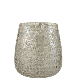 Theelichthouder Zilver Mozaiek Glas