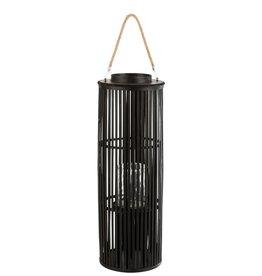 Lantaarn Zwart Tube Bamboe Large