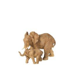 Beeld Olifant met Baby Beige