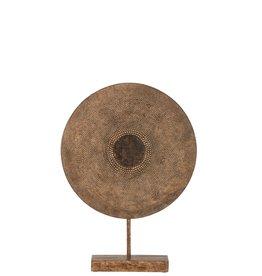 Beeld Cirkel op Voet Bruin Medium