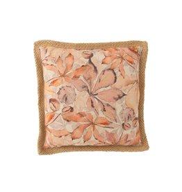 Kussen Roze Beige Bladeren Polyester