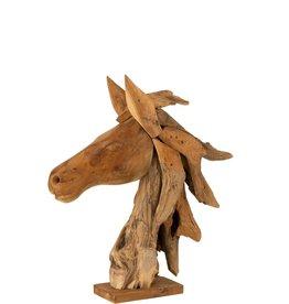 Beeld Paardenhoofd Bruin Hout
