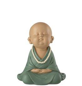 Beeld Monnik Zen Blauw Groen Large