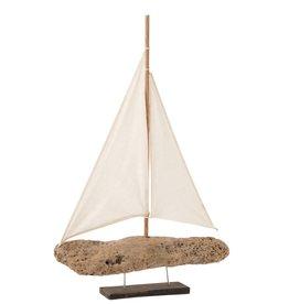Decoratieve Zeilboot op Voet Drijfhout Large