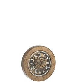 Klok Antiek Goud Hout