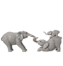 Beeld Olifanten Spelend Grijs