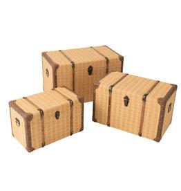 Koffers Set van 3 Rechthoek Beige Bruin