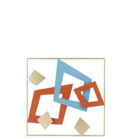 Wanddecoratie Goud Blauw Rood Geometrisch