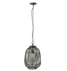 Hanglamp Zwart Khaki Bamboe Spijlen