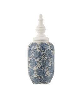 Pot met Deksel Blauw Wit Bloemen