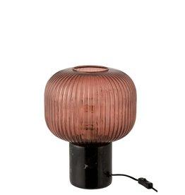 Tafellamp Rood Zwart Marmer Bol