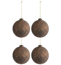 Kerstballen Bloem Antiek Bruin L Set van 4