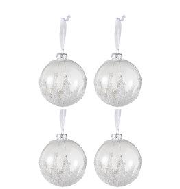 Kerstballen Suiker Transparant Wit Set van 4