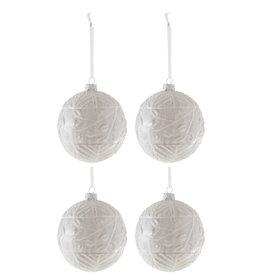 Kerstballen Glitter Wit Set van 4