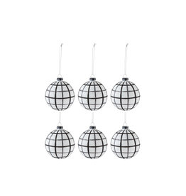 Kerstballen Ruiten Wit Zwart S Set van 6