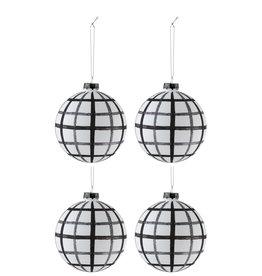 Kerstballen Ruiten Wit Zwart L Set van 4