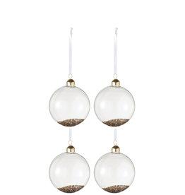 Kerstballen Transparant Goud S Set van 4