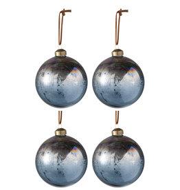 Kerstballen Antiek Blauw Bruin Set van 4