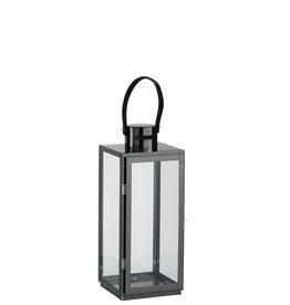 Lantaarn Vierkant Metaal Glas Zwart