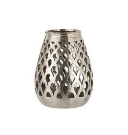 Windlicht Geruit Aardewerk Glas Zilver Large