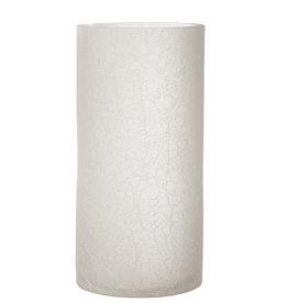 Windlicht Cilinder Craquele Frosted Wit
