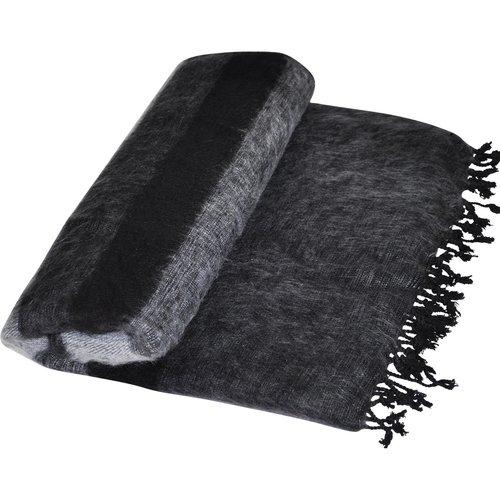 Dieses schöne Anthrazitgrau gestreifte decke ist handgefertigd in Nepal.  Warm | Weich | Sticht nicht | Perfekt für das Sofa