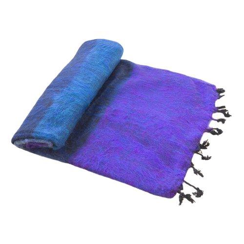 Dieses schöne Violett Blau Gestreifte decke ist handgefertigd in Nepal. Warm | Weich | sticht nicht | Perfekt für das Sofa