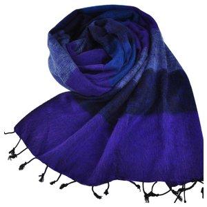 Nepal Schal Jeans Violett gestreift #929