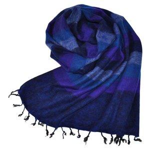 Nepal Schal Violett Dunkelblau Gestreift #919