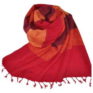 Nepal Schal Orange Rot gestreift #920