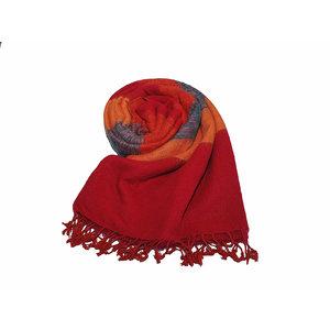 Nepal Schal Blau Orange Rot #933