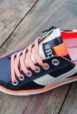 Bana & co Bana & co sneaker donker blauw met fluo