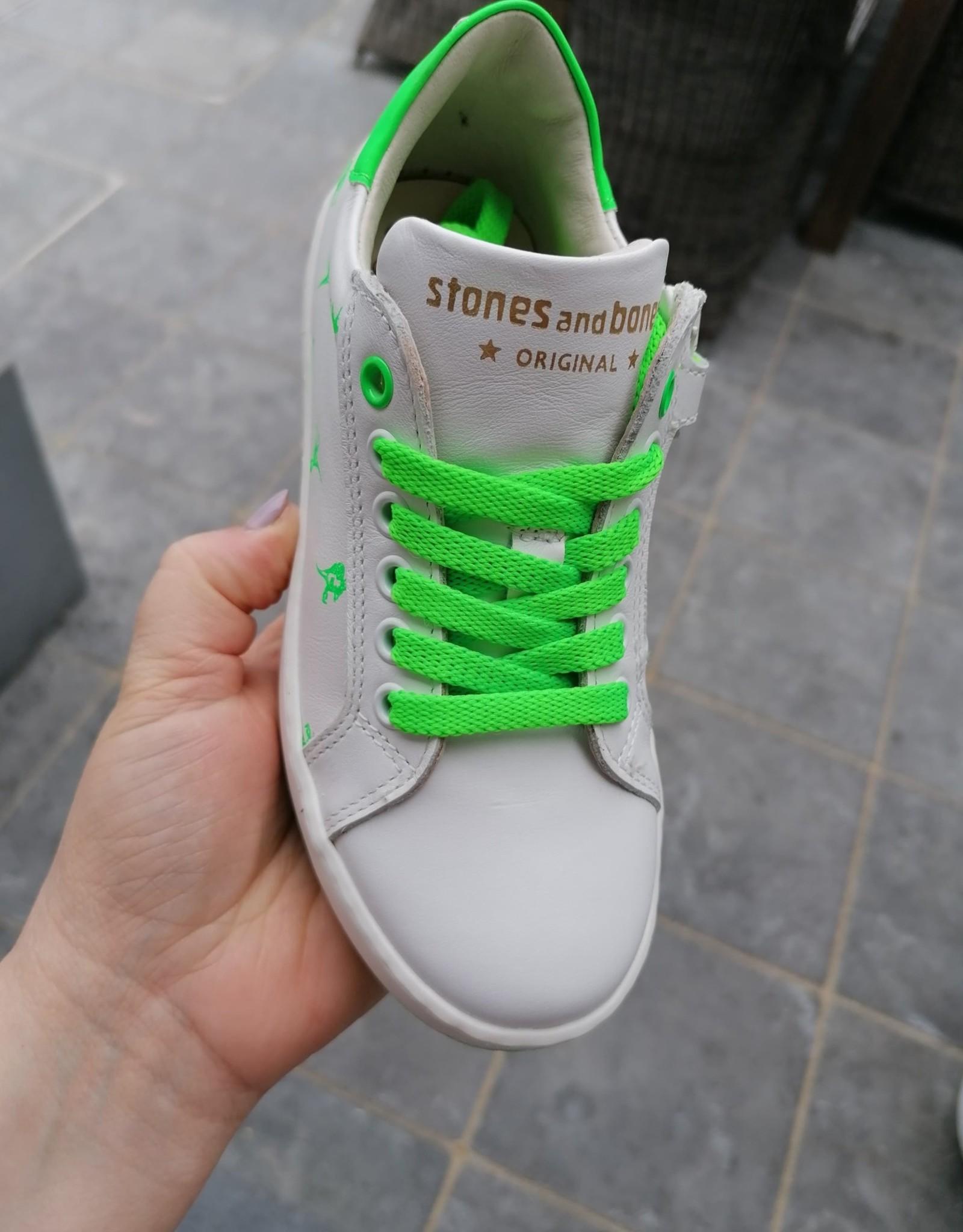 Stones And Bones Stones And Bones sneaker wit met fluo groene dino's