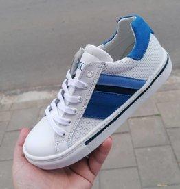 Bana & co Bana & co sneaker wit met gekleurde blauwe band