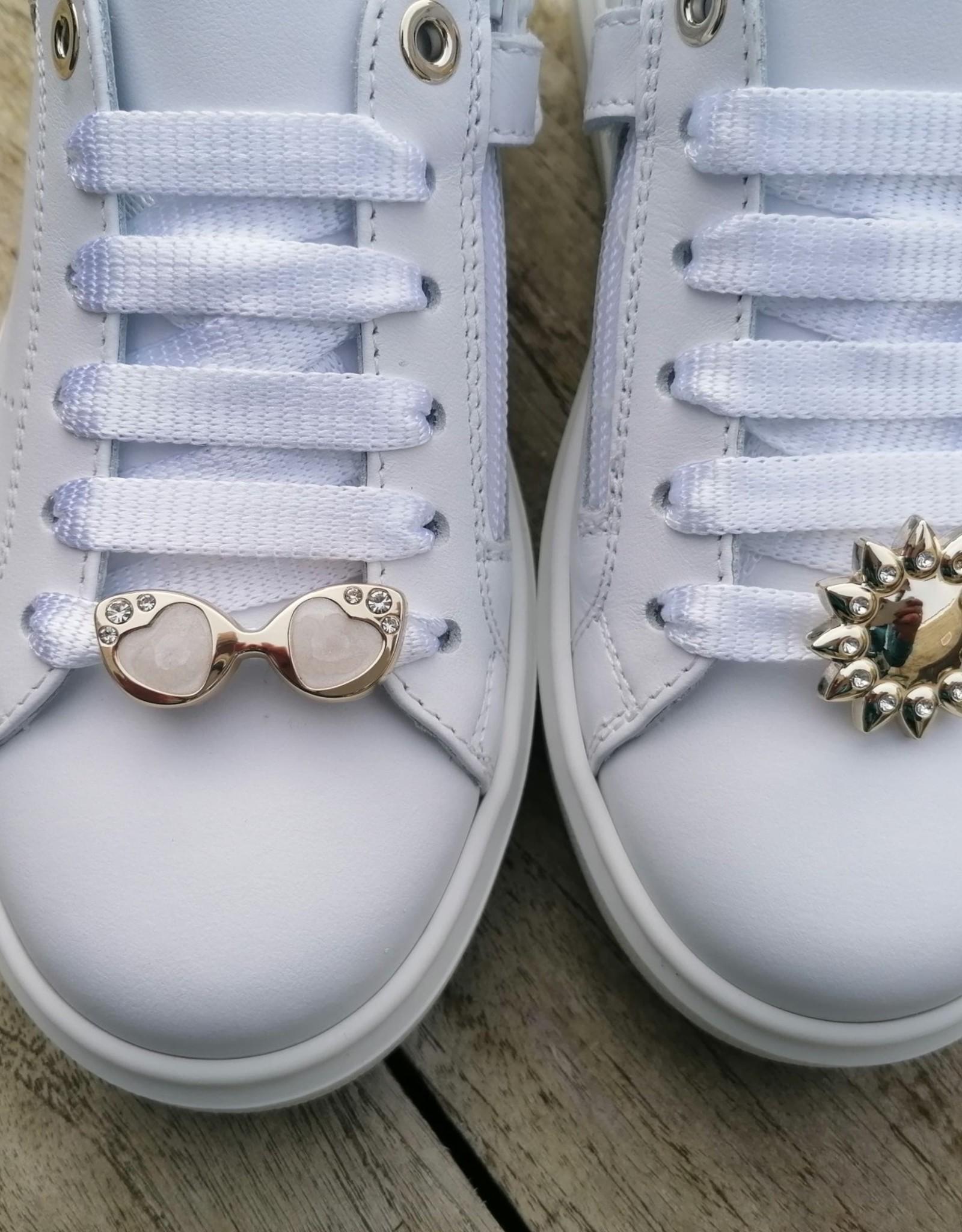 Andrea Morelli Andrea Morelli veterschoen wit met gouden items