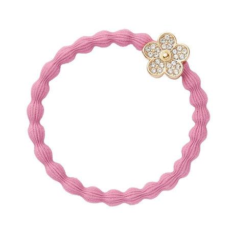 Elastiek bloem steentjes roze