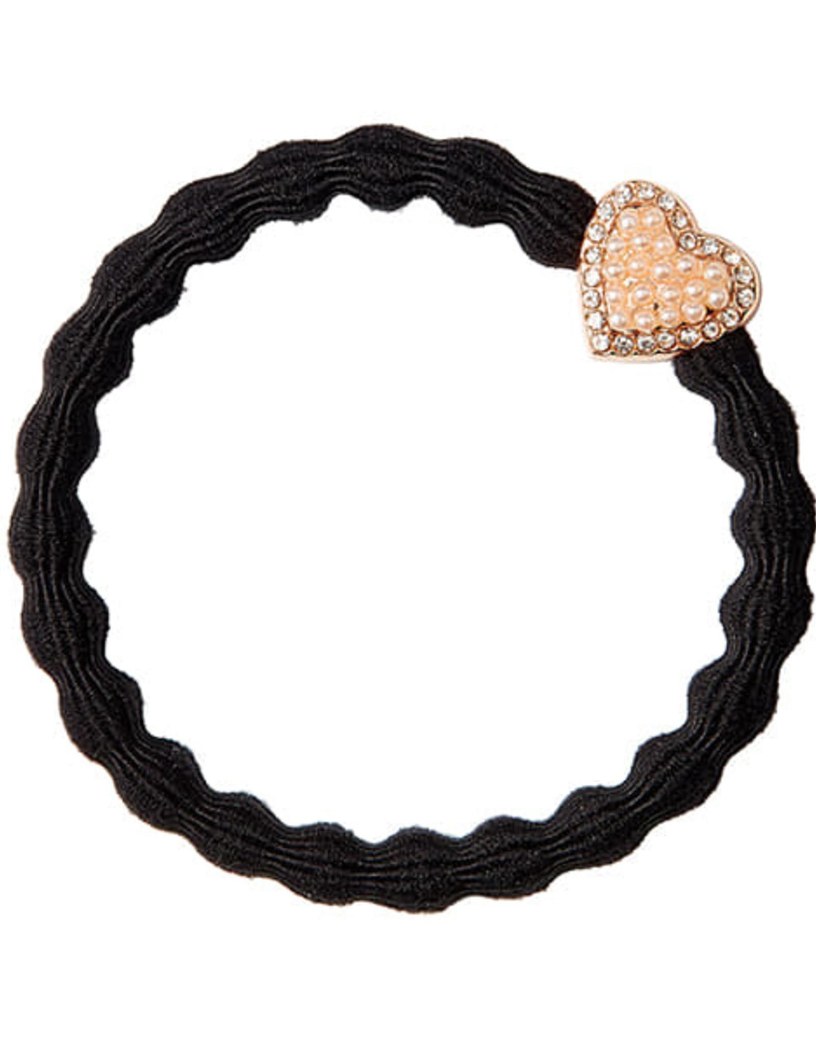 By Eloise By Eloise elastiek zwart met gouden hart met steentjes