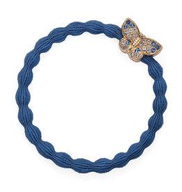 By Eloise By Eloise elastiek blauw met vlinder met steentjes