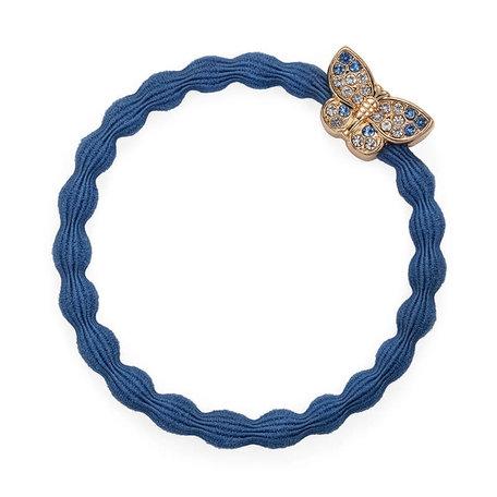 Elastiek blauw met vlinder met steentjes