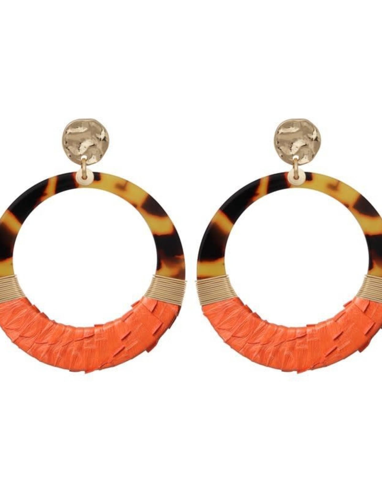 Biba Biba oorbel open 2 kleurig oranje