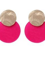 Biba Biba oorbel schijf fel roze groot