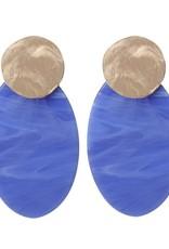 Biba Bibi oorbel schijf lang blauw