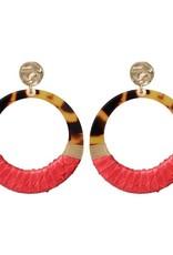 Biba Biba oorbel open 2 kleurig rood