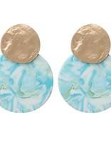 Biba Biba oorbellen cirkel gevlamd blauw-groen