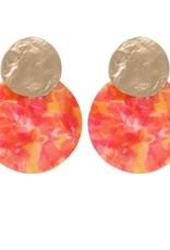 Biba Biba oorbellen cirkel gevlamd oranje - roze