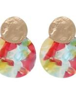 Biba Biba oorbellen cirkel gevlamd geel- oranje -blauw